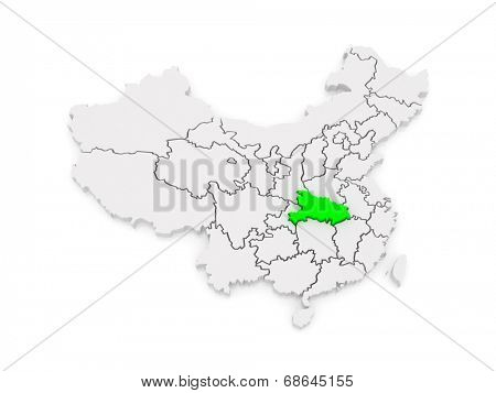Map of Hubei. China. 3d