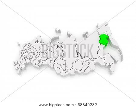 Map of the Russian Federation. Magadan region. 3d poster