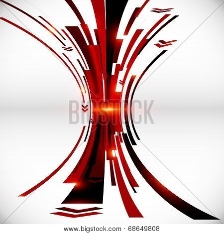 Abstract vector black and red perspective vector techno background poster