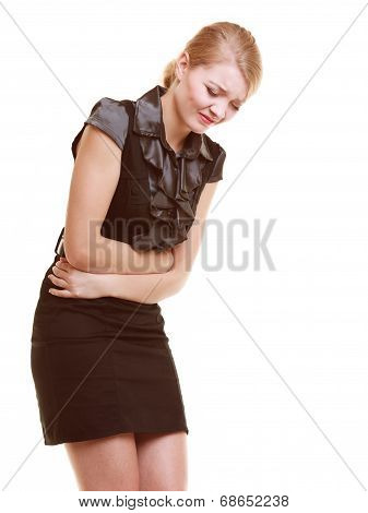 Indigestion. Woman Suffering From Stomach Pain Isolated.