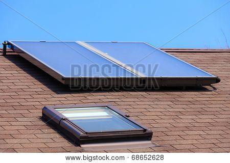 Renewable Energy. Solar Panel On Roof.