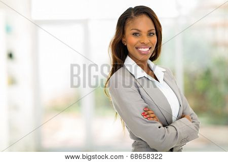 portrait of young pretty african american businesswoman in office