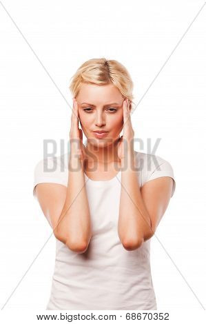 woman worried about the future isolated on white background.