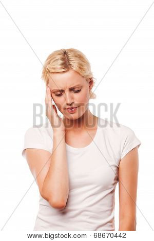 young woman with a headache holding head, isolated on white background