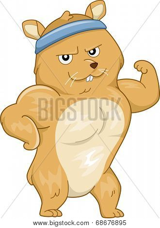 Mascot Illustration Featuring a Buff Hamster Flexing its Muscles