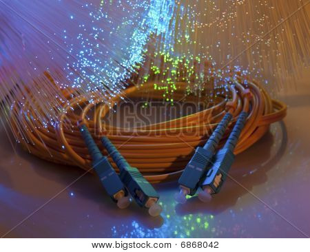 network cable closeup with fiber