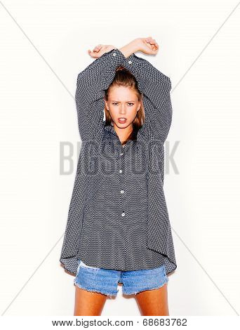 Young Woman In Big Shirt.