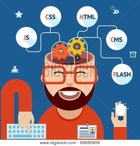 Developer of Web and mobile applications. Head with gears and programming technological clouds poster