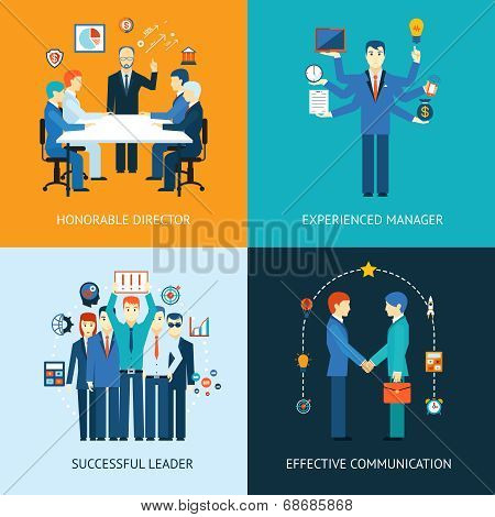 Business team leader banners with a management meeting - Honorable Director  a multitasking man - Experienced Manager  business team - Successful Leader  handshake - Effective Communication poster