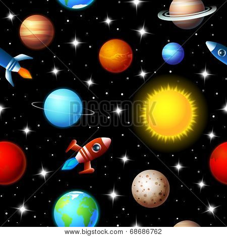 Seamless kids design of rockets and planets