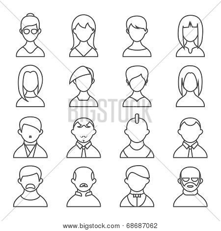Set of people outline icons