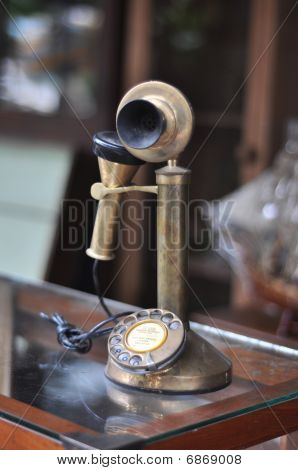Old Telephone Antique Brass