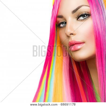 Colorful Hair and Makeup. Beauty Fashion Model Girl with Colorful Dyed Hair. Colourful Long Hair and Make up for blue eyes. Portrait of a Beautiful Girl with Dyed Hair, professional hair Coloring  poster