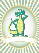 Cartoon gator poses mascot standing inside retail ad product setting poster