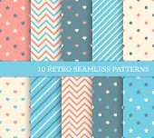 10 retro different seamless patterns. Zigzag and stripes. poster