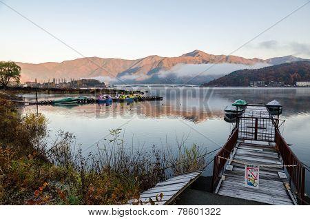 Gangplank At Lake Kawaguchi In The Morning Kawaguchi-ko, Japan