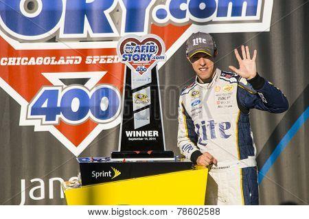 Joliet, IL - Sep 14, 2014:  Brad Keselowski (2) wins the MyAFibStory.com 400 at Chicagoland Speedway in Joliet, IL.