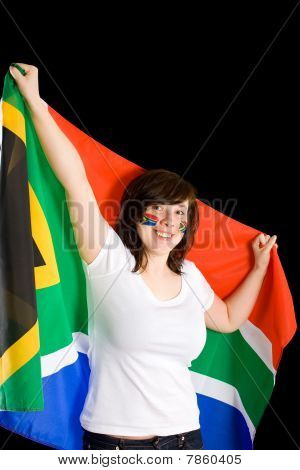 Young Happy And Cheerful Female, Hold South Africa Flag, Isolated On Black