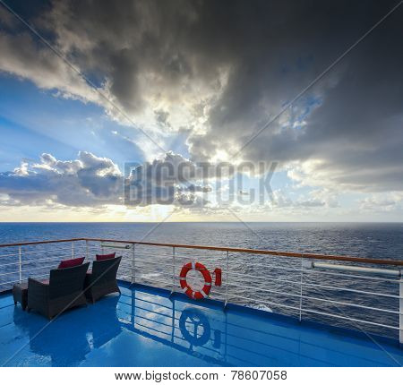 View Of The Ocean And Sky From A Cruise Deck. The Morning After The Rain.