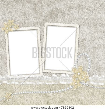 Vintage Card From Flowers And Pearl On The Abstract Background