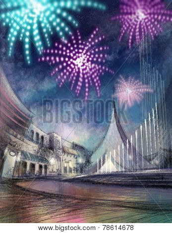 firework illustration with cityscape and fountain digital paint