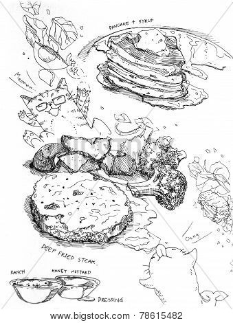 Pancake And Syrup And Steak With Vegetable Drawing