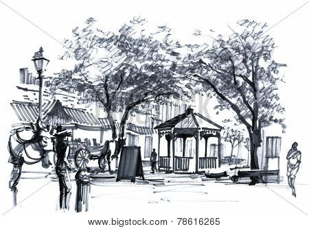 Usa Old Town, Savannah Georgia City Market Drawing