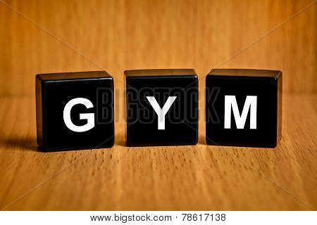 GYM or gymnasium or gymnastic services text on black block poster