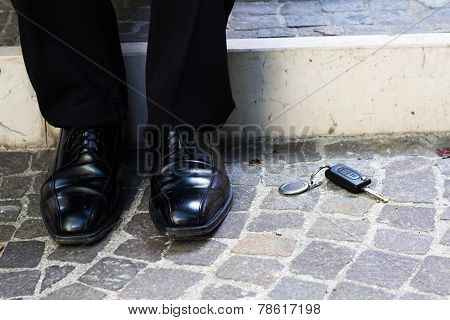 Business Man Lost The Key