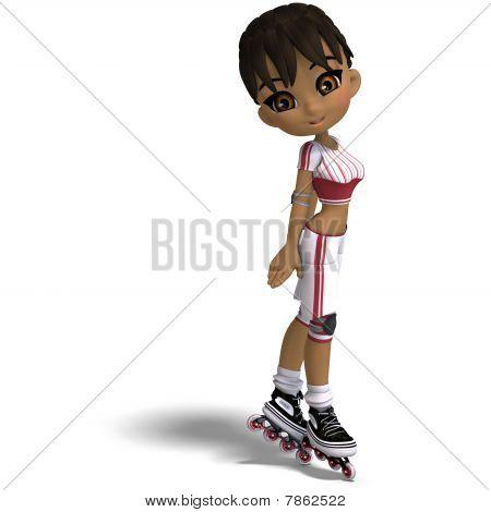 cute cartoon girl with inline skates