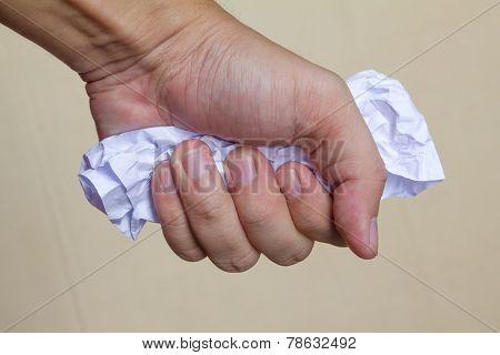 hand grab paper close up