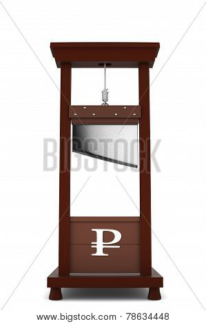 guillotine with a ruble sign hole on white background