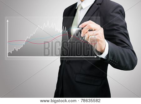 Businessman standing posture hand holding graph finance isolated on over gray background poster