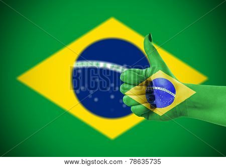 National Flag Of Brazil On Hand