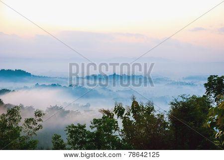 Sunrise Over Merapi Volcano And Borobudur Temple, Indonesia