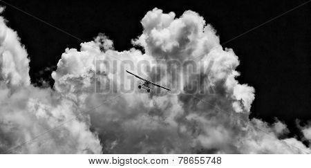 Seaplane in stormy skies