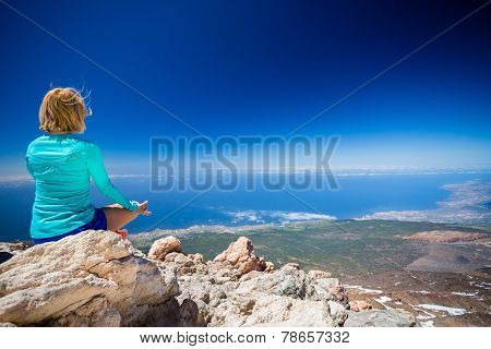 Woman Doing Yoga Meditate Outside