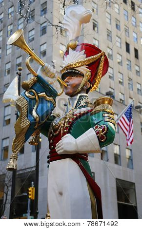 Wooden toy soldier bugler Christmas decoration at the Rockefeller Center in Midtown Manhattan