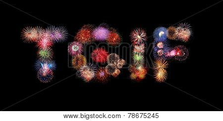 Tgif Word Text Colorful Fireworks