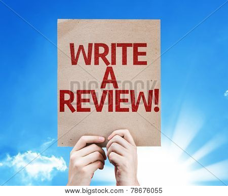 Write a Review card with beautiful day poster