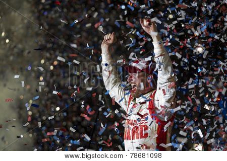 Daytona Beach, FL - Feb 23, 2014:  Dale Earnhardt Jr. (88) wins the Daytona 500 at Daytona International Speedway in Daytona Beach, FL.