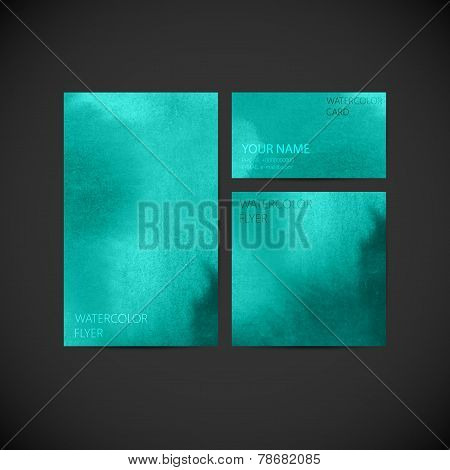 set of vector visual corporate identity with turquoise paint watercolor