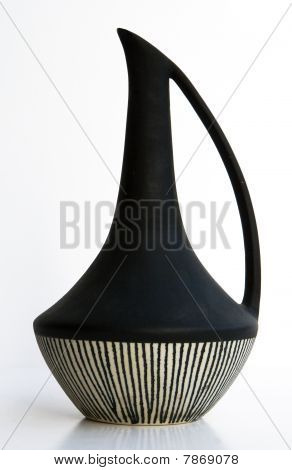 Israeli Black-white Ceramic Jug In Retro Style Isolated On White