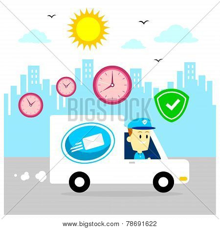 Postman Delivering Packages By Driving Van, Fast and Safe