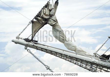 Close up of a historical Sail Ships Rigging poster