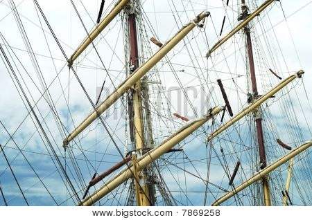 Close up of an old Sail Ships Rigging poster