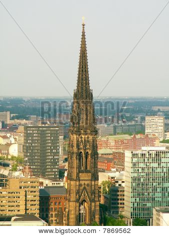Ruins of Saint Nikolai church tower Hamburg Germany poster