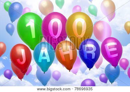 German 100 Years Balloon Colorful Balloons
