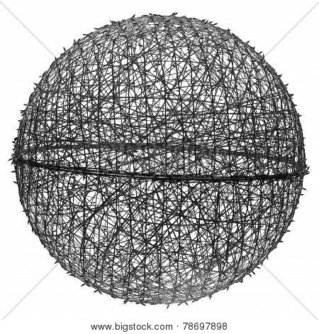 Huge Ball With Christmas Lights On White Background