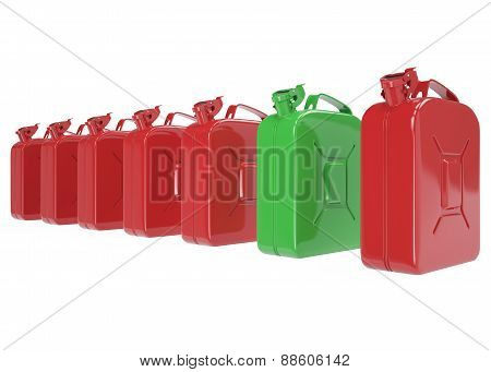 A number of cans, jerrycan for fuel. Canister for gasoline, diesel gas on isolated on white background. High resolution 3d image poster